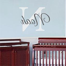 BATTOO Nursery Wall Decals Custom Name Monogram Wall Decal -