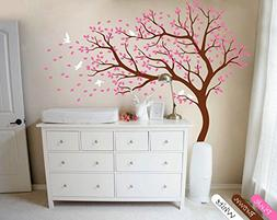 YOYOYU Nursery Wall Sticker -White Tree And Flying Birds Blo