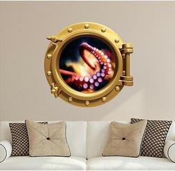 Octopus Tenticals Porthole Window Wall Decal Kids Ocean Wall