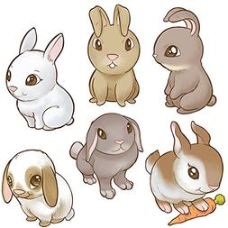 Oliver's Labels Easter Bunnies Wall Decals Peel and Stick Re