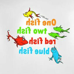 One Fish Two Fish Red Fish Blue Fish Dr Seuss Kids Wall Deca