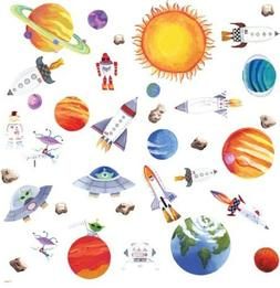 OUTER SPACE 35 Wall Stickers PLANETS ROCKETS SUN Room Decor