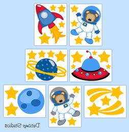 Outer Space Ship Planet Decals Boy Wall Art Kids Room Sticke