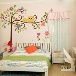 Owl Animal Tree Wall Stickers Vinyl Decal Kids Nursery Baby