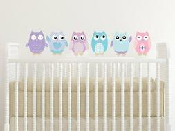 "Sunny Decals Owl Fabric Wall Decals , Small/6"", Pink/Turquoi"