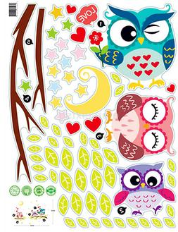 Owl Tree Cartoon Animal Wall Stickers for Kids Rooms Home De