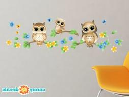 Owls on a Branch Fabric Wall Decals, Set of 3 Owls with Bran