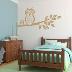 Owls on Tree Branch Vinyl Wall Decal for living room, kids n