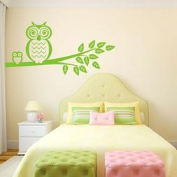 Owls on Tree Branch Vinyl Wall Decal for bedroom, playroom,