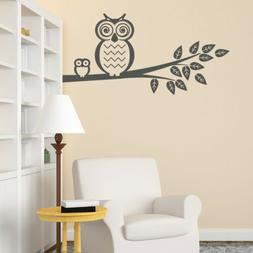 Owls on Tree Branch Vinyl Wall Decal for family room, kids n