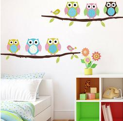 Owls On Tree Wall Sticker For Kids Room Wall Decal Wall Deco