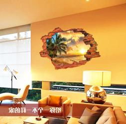 Palm Tree Beach 3D Scene Removable Sticker Wall Decals Home