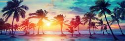 Panoramic Colorful Palm Tree Sunset Wall Decal Fabric Vinyl