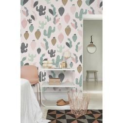 Pastel Cactus Peel and stick removable wallpaper Wall decal