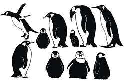 Penguin Family with Baby Scenery Nursery Kids Mom Dad Fun Re
