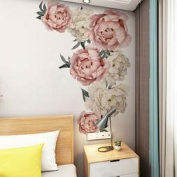 Peony Flowers Pattern Decals Mural Wall Art Stickers Living