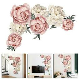 Peony Rose Flowers Wall Sticker Art Nursery Decals Kids Room