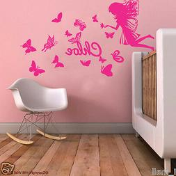 Personalised NAME & FAIRY; BUTTERFLIES Kids Removable Wall D