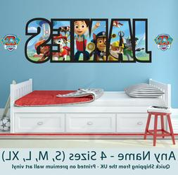 Personalised Name Wall Stickers/Decals Paw Patrol Childrens