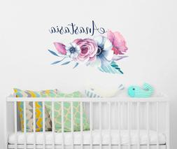 Personalized Girls Name Vinyl Wall Decals/ Flower Decal/ Flo