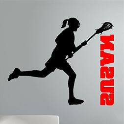 Personalized Lacrosse Girl Wall Decal Sticker Graphics Words