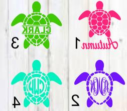 Personalized Monogram Vinyl Decal sea turtle / turtle A Appr