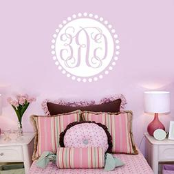 Personalized Monogram with Dots Circle Vinyl Wall Decals Sti