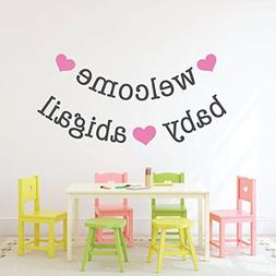 Personalized Name Nursery Wall Decal - Welcome Baby Banner -