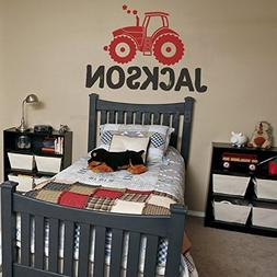 BATTOO Tractor Wall Decal, Personalized Tractor Name Decal,