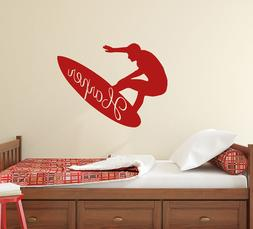 Personalized Vinyl Name Wall Decals Sport Surfer Decal Home