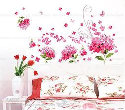 Pink/Blue Lilac Flowers Vinyl Wall Stickers Floral Art Decal