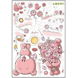 TOOGOOPink Cartoon Cat Rabbit Flower Wall Sticker For Baby G