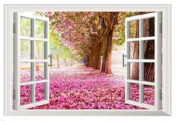 Pink Cherry Blossom Scenery Window View Wall Art Sticker for