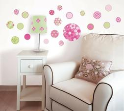 PINK DOTTY 20 Wall Decals green dots flower Decorations Room