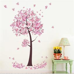 Pink Flower Butterfly tree Living Room Wall Sticker Decal Gi