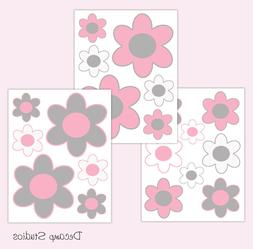 Pink Flower Decals Baby Girl Nursery Wall Art Floral Kids Ro