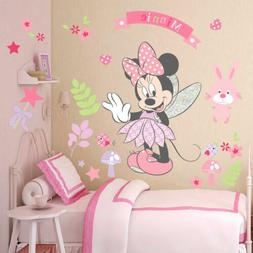 Pink Minnie Mouse Wall Stickers Cartoon Mural Vinyl Decals K
