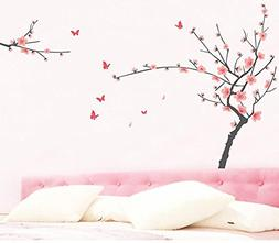 BIBITIME Pink Peach Blossom Tree Wall Decals Sticker Lovely
