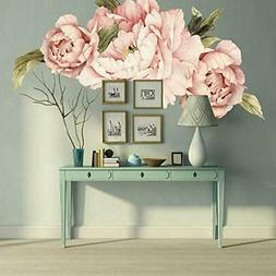 Murwall Pink Peonies Wall Decals Floral Wall Decal Peel and