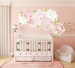 Pink Peony Rose Flower Blossom Wall Stickers Kids Room Baby