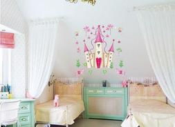 Pink Princess Castle Girl Room Tower Removable Wall Stickers