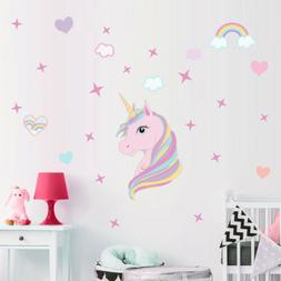 Pink Rainbow Unicorn& Star Wall Sticker Kids Girl Bedroom Qu