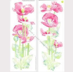 Pink WATERCOLOR POPPIES Floral Wall Decals Appliques Sticker