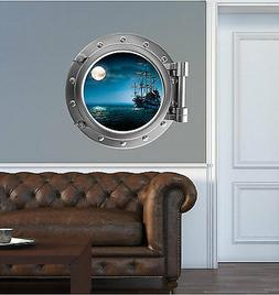 Pirate Ship PortScape Porthole Window Wall Decal Fabric Viny