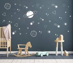 Planet Wall Decal, Boys Room Decor, Outer Space Wall Decals,