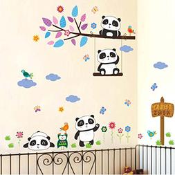 BIBITIME Play on the swing Tree Branch Panda Wall Decal Owls