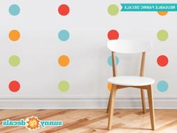 Polka Dot Fabric Wall Decals -  Set of 48 Four Inch Dots - R