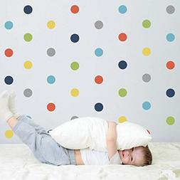 "4"" Polka Dot Wall Decals Navy Orange Blue Green Yellow Gray"