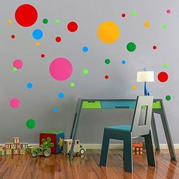 Polka Dots Wall Decals 91 pcs Cute - Colorful Round Stickers