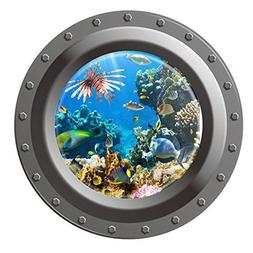 Dnven  Porthole Peel and Stick Window View Ocean Under the S